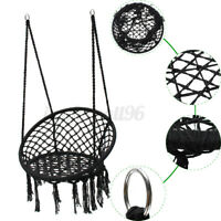 Macrame Hammock Chair Hanging Woven Cotton Rope Swing Garden Outdoor Black