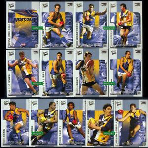 2004 AFL Select Conquest Complete Full Team Set WEST COAST EAGLES Stars Cards