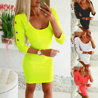 Women Sexy Bodycon Mini Dress Ladies Long Sleeve Slim Evening Party Club Dresses