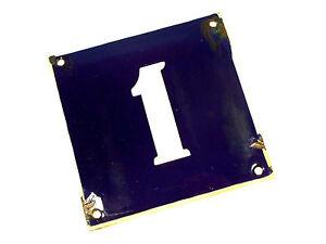 Vtg French 1 Blue & White Enameled Metal Sign House Door Number Address 1950's
