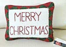 """Sudha Beaded MERRY CHRISTMAS  Pillow  Red,Green,White Velvet Small 10.5 x 8"""""""