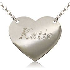STERLING SILVER NAME CHAIN HEART PERSONALISED NECKLACE DOG TAG FREE ENGRAVING