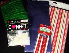 Christmas Gift Wrap Lot Tissue Paper Wrap Ribbon Confetti Fuzzy Cord