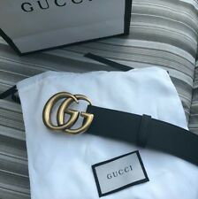 Pre-Owned Gucci Belt - Gold GG Buckle With Black Strap, Size 34-38 ( 105cm )