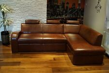 Italienisches Leder Ecksofa 100% Echt Leder Sofa Couch mit Bettfunktion