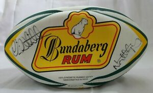 SIGNED AUTOGRAPHED RUGBY BALL AUSTRALIA WALLABIES BUNDABERG RUM NEAL HATELY