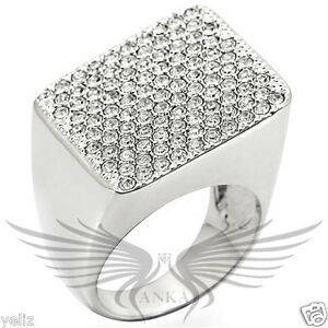 Brilliant Top Grade Crystal Cocktail Rhodium Fashion Ring 5 6 7 8 9 10 1W035