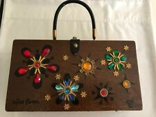 Vintage Enid Collins of Texas 1966 Jeweled Wood Mira Flores Box Bag Purse