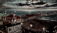 C. 1920 Night Scene of Steel Pier & Boardwalk Atlantic City NJ Postcard Ocean