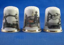 Birchcroft China Thimbles -- Set of Three -- Antique Sewing Machines