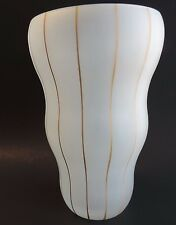 Czech Republic Frosted Glass Vase White Gold Stripes Handpainted