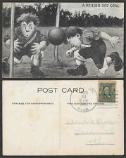 1908 Sports Postcard - Soccer - A Header Into Goal - Comic Humor