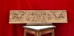 Jesus Cross Crucifix Teak Wooden Panel Antique Wall Floral Hand Carved Vintage