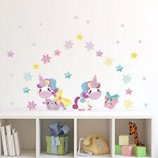 Flower Unicorn Rainbow Stars Art Decal Home Decor Kids Room Wall Mural Stickers