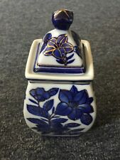 Blue and White Porcelain Container with a Floral Design
