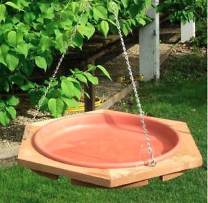Cedar Bird Bath Feeder Outdoor Hanging - Made in the USA