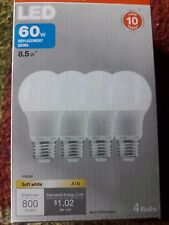 SYLVANIA 60w Soft White LED Replacement Bulb (using only 8.5w) // 4 Bulbs in Box