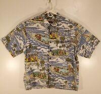 Reyn Spooner Art of Eddy Y Men's Large Rayon Woodie Surf Pattern Hawaiian Shirt