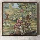Vintage Tapestry under glass in a Metal frame...19-20in