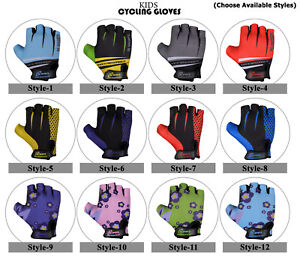 CHILDREN KIDS BOYS GIRLS PADDED CYCLING GLOVES CYCLE BICYCLE BMX BIKE GLOVES -3S