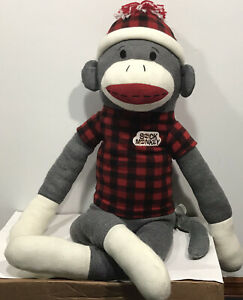 "Dan Dee 44""  Sock Monkey Large Jumbo Giant Plush Stuffed Animal Plaid Shirt Hat"