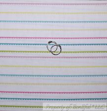BonEful Fabric FQ Cotton Quilt White Pink Blue Yellow Pastel Color Baby S Stripe