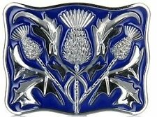 Stunning Scottish Celtic Thistle Kilt Belt Buckle Blue Enamelled Chrome