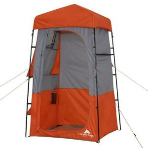 Deluxe Shower Tent Changing Station Ozark Trail Hazel Fiberglass Orange Gray