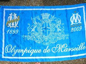 Drapeaux flag OLYMPIQUE DE MARSEILLE om signé EQUIPE 2009 - 2010 ultras foot