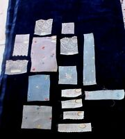 Lot Of 14 French Antique Tiny Scale Hand Loomed Embroidery Samples c1918~Dolls