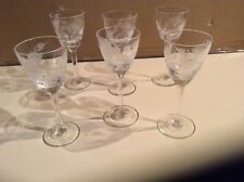 Set of 6 stemmed cordial glasses very good condition