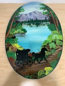 21x14 Original Oil painting on Wood Landscape Oval Shape Painting By Keanwa
