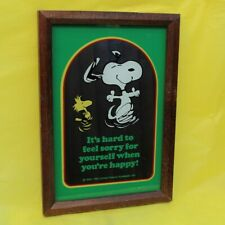 More details for rare vintage peanuts snoopy 'happy' collectors mirror large schulz woodstock