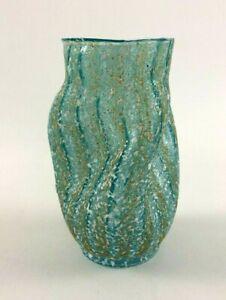 Art Nouveau Dugan Art Glass aqua pinched spatter vase frit glass POMPEIAN c.1905