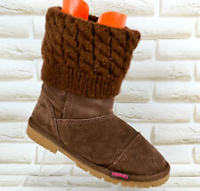 SUPERDRY Sox Brown Leather Womens Mid-Calf Hi Ankle Boots SlipOn Size 5 UK 38 EU