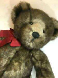 Exclusive Bombay Danny Teddy Bear 14 inch  Brown Faux Mink by Russ Bears