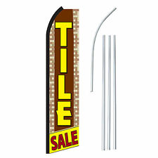 Tile Sale Brown/Yel Advertising Sign Swooper Feather Banner Flag & Pole Only