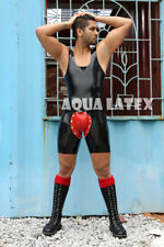 Slip on Style Bike Length Rubber Latex Tank Body Suit Removable Codpiece Catsuit
