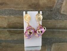 Gold Trimmed Pink Enamel Dipped Seashell Dangle Earrings