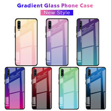 For Samsung Galaxy A71 A51 A70 A50 A40 Gradient Tempered Glass Glossy Case Cover