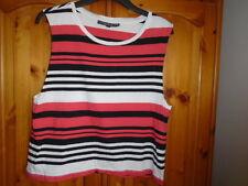 Orange red, black and white stripe sleeveless top, TOPSHOP, size 12 Petite