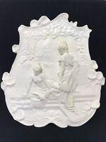 Antique 1917 Wall Plaque-3D Plaster Sculpture Chalkware Roman Emperor Victorian