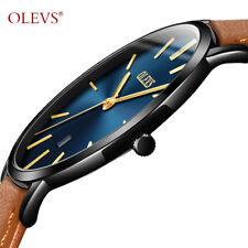 OLEVS UltraThin Waterproof Scratch Resist Fashion Business Leather Men's Watch