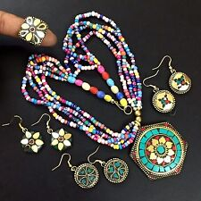 TIBETAN SOLID BRASS MULTI GEM STONE WHOLESALE ETHNIC RING/EARRING/NECKLACE CH305