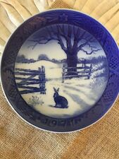 "Vintage Decorative Plate Royal Copenhagen 7 1/4"" ""Hare In Winter"" Blue And White"