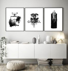 Set of 3 Perfume Fashion Vogue Designer Wall Art Bedroom Print Home