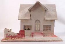 Vintage Christmas House Train Yard Putz Display Gray Pink Cardboard #109