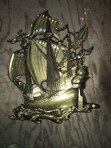 """Large 29"""" Vintage Plastic Pirate Ship Wall Decor Nautical Beachy Gold Made in US"""
