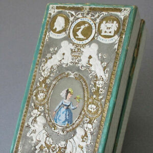 Antique VICTORIAN Handkerchief BOX Chromo LADY Rich GILT Embossed MATIER Belfast