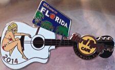 Hard Rock Cafe HOLLYWOOD FL 2014 WELCOME to FLORIDA BIllboard GUITAR PIN w/Girl